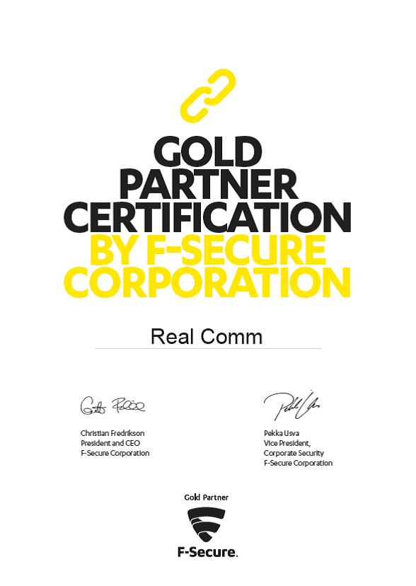 gold partner certification by F-Secure Corporation